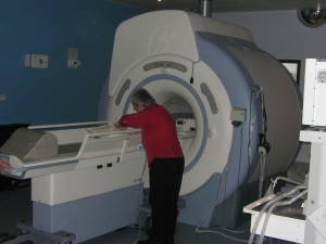 tiny Princess in such a big MRI machine...age 1 week